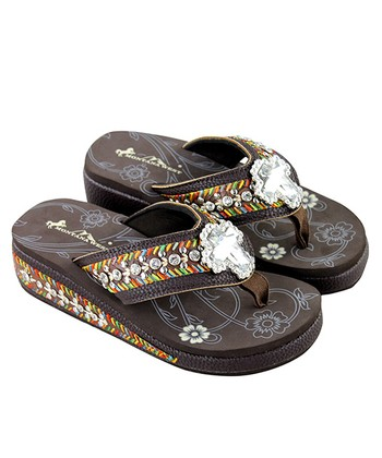 6296e02108b7 Coffee Bling Bling Cross Embroidered-Wedge Flip-Flop - Women