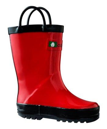 b2cc4e2f83e38 Fiery Red Loop-Handle Rain Boot - Kids