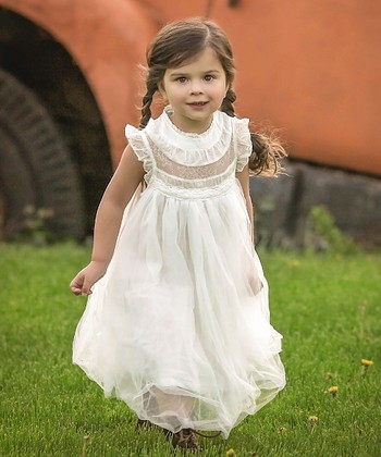 c98e47651cfc White Tulle Smocked Magnolia Angel-Sleeve Dress - Toddler & Girls