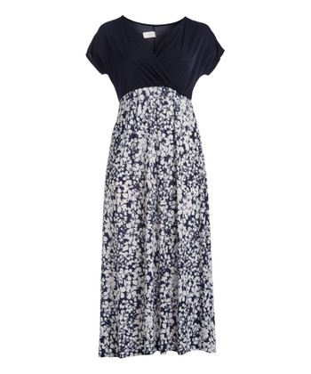 d51eb390e786 Navy & White Floral Surplice Maxi Dress - Women