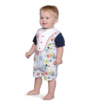608a41002 White Cosmonaut & Navy Baseball Romper - Infant
