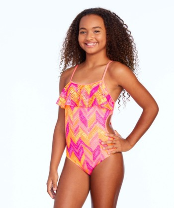 8cf048879c03a Orange & Pink Crochet Cutie One-Piece - Girls
