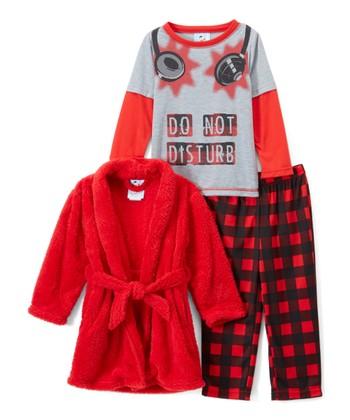 64e75259a5 Red   Gray Check Pajama Set   Robe - Boys