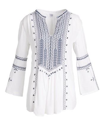 68afd7161 White & Navy Needlepoint Tunic - Women