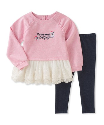 Pink  Tommy Hilfiger  Lace-Ruffle Tunic   Leggings - Infant cdfb739d402