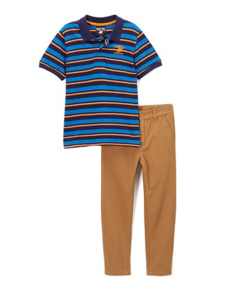 0e6ed71f4 Midnight Stripe Polo   Brown Twill Pants - Infant