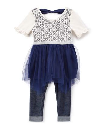 a71a57fd8273 Navy   White Handkerchief Dress   Pants - Infant