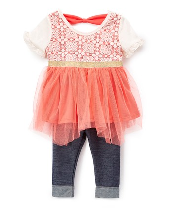 6b723b9cb073 Coral   White Handkerchief Dress Set - Toddler   Girls