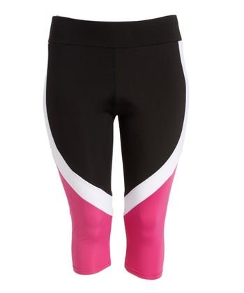 fe089f4005df4 Black & Fuchsia Color Block Capri Leggings - Juniors