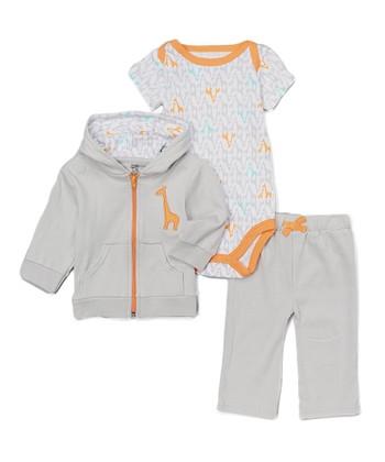 18295ba5b6e0 Gray   Orange Giraffe Bodysuit Set - Newborn   Infant