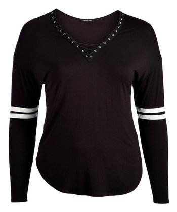 542245357ded2b Black Lace-Up-Neck Top - Women