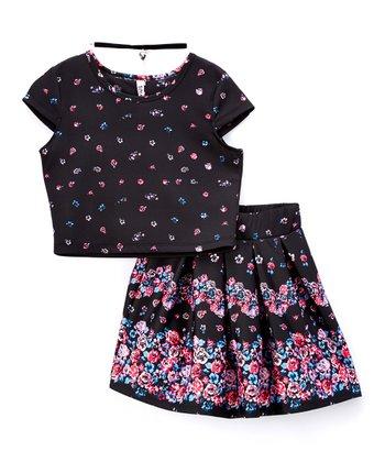 63e30b4c5 Three-Piece Black & Pink Floral Pleated Skirt Set - Girls