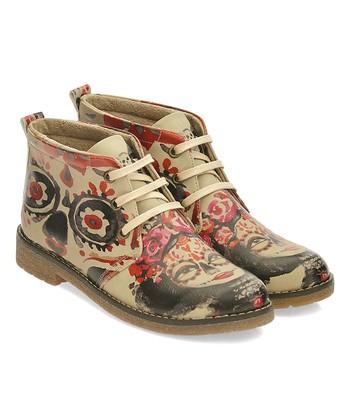 0af81209c03a Beige   Black Sugar Skull Lace-Up Chukka Boot - Women