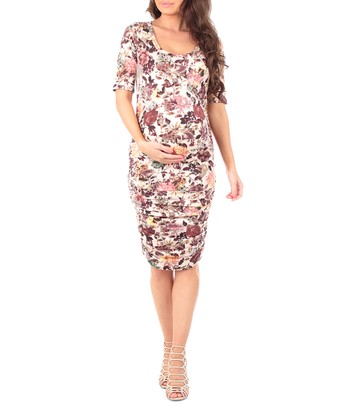 652ed9d61462 Mauve & Blush Floral Ruched Maternity Dress