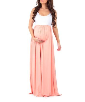 495ed1ec6160 Dark Peach   White Sleeveless Maternity Maxi Dress