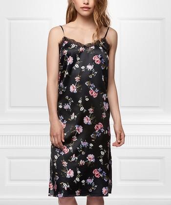 77fbc7a41c38d Dusty Rose & Black Floral Slip Dress - Women