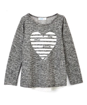 96230c6c06ca21 Black 'Let Love Shine' Lace-Accent Long-Sleeve Top - Girls