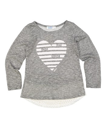 58cf19b0788dc9 Gray 'Let Love Shine' Lace-Accent Long-Sleeve Top - Girls