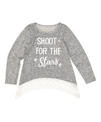 5e4e00c97cc238 Gray 'Shoot for the Stars' Lace-Accent Long-Sleeve Top - Girls
