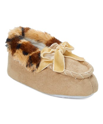 b68ba3d8ea0b Tan   Cheetah Print Bow Moccasin - Girls