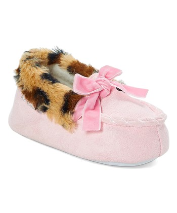 001a65690edf Light Pink   Cheetah Print Bow Moccasin - Girls