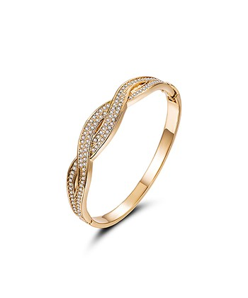 e1a78bff0 18k Gold-Plated Braided Hinge Bangle With Swarovski® Crystals