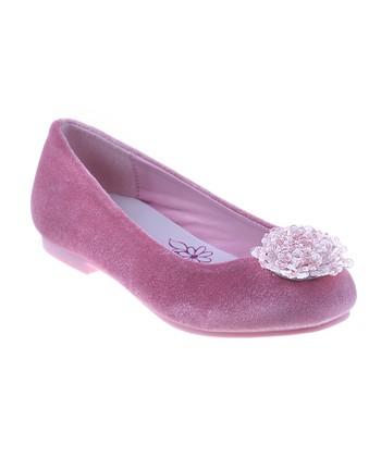 fc5b534ab24 Pink Velvet Embellished Ballet Flat - Girls