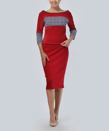 f31be6301d Red & White Houndstooth Three-Quarter Sleeve Top & Pencil Skirt - Women