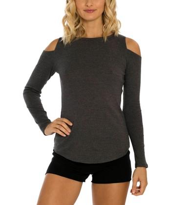 8af4211633a38 Heather Charcoal Cold Shoulder Top - Women