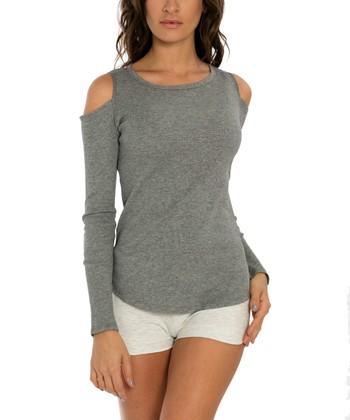 bef9e7b54584f Heather Gray Cold Shoulder Top - Women