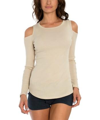 13c39b86f625e Ivory Cold Shoulder Top - Women