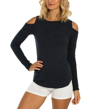7639a8e9ed043 Navy Cold Shoulder Top - Women