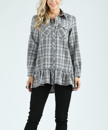 cafa82749d Gray   Black Plaid Ruffle Tunic - Women
