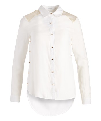 7044124672ef3 White Contrast-Panel Button-Up Top - Women