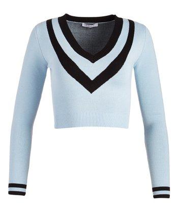 f12456674f53f Blue Stripe-Accent V-Neck Crop Sweater - Women