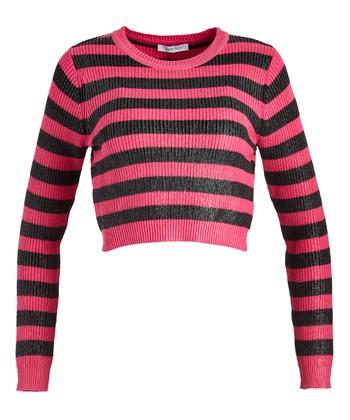 4649be5914ac5 Pink   Black Stripe Crop Sweater - Women