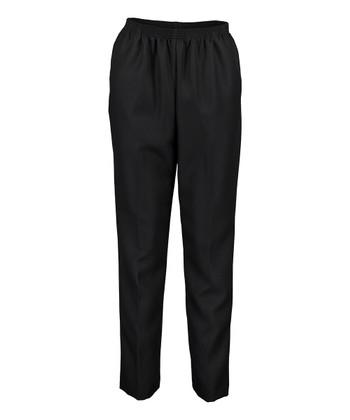 b2fe7e127c0 Black All-Around Elastic Pull-On Medium Pants - Women   Petite · Black  Grommet-Accent Pull-On Capri ...