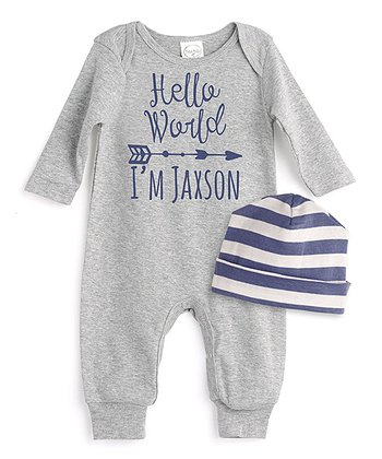 9b507cb1eb6 Heather Gray  Hello  Personalized Playsuit   Blue Beanie - Newborn   Infant