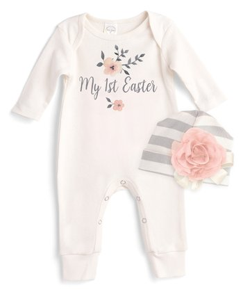 4a09e9c2c3a Ivory  My 1st Easter  Playsuit   Gray Stripe Beanie - Infant