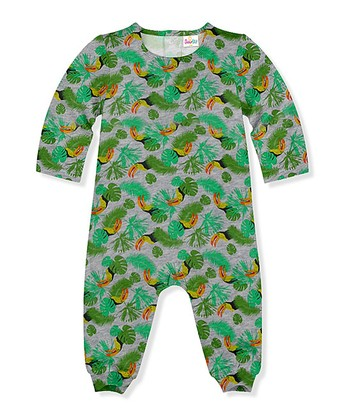 0a7cd71bb Gray Heather & Green Birds Playsuit - Newborn & Infant