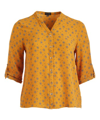 9dbef851d2b56 Mustard Floral Roll-Tab Sleeve Button-Up Top - Plus