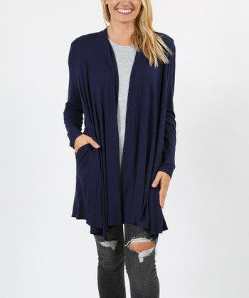 0f019d7c11 Navy Drape Open Cardigan - Women