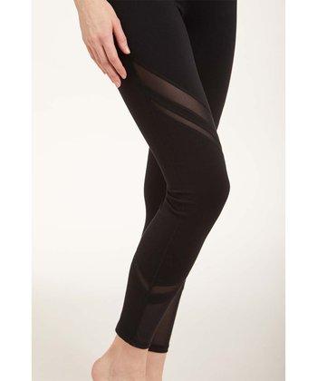 ed48fda44e5b7 Black Mesh Accent Mid-Rise Leggings - Women