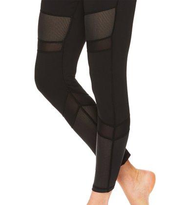 6dc7c57e578bd Black Mesh-Insert Mid-Rise Naomi Leggings - Women