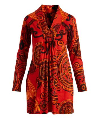 58157aac8f95 Orange Abstract Gather-Front V-Neck Tunic - Women