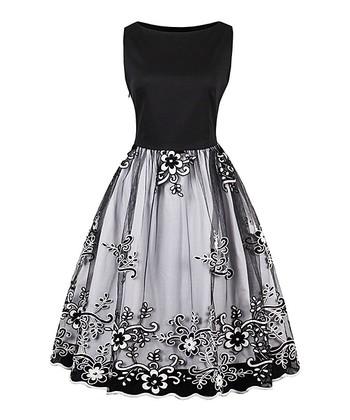 cab20d3a6d6 Black Floral Sleeveless Fit   Flare Dress - Women