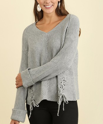 d73f743df6b23 Gray Ribbed-Knit Side-Lace Sweater - Women