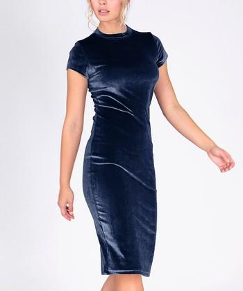 a22aa4adb51 Navy Velvet Bodycon Dress - Women