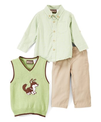 41803294c Green Plaid Button-Up Set - Infant