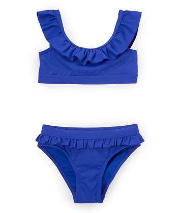 31535d84a47 Cobalt Blue Ruffle-Trim Bikini - Girls · Pink & Blue Marble ...